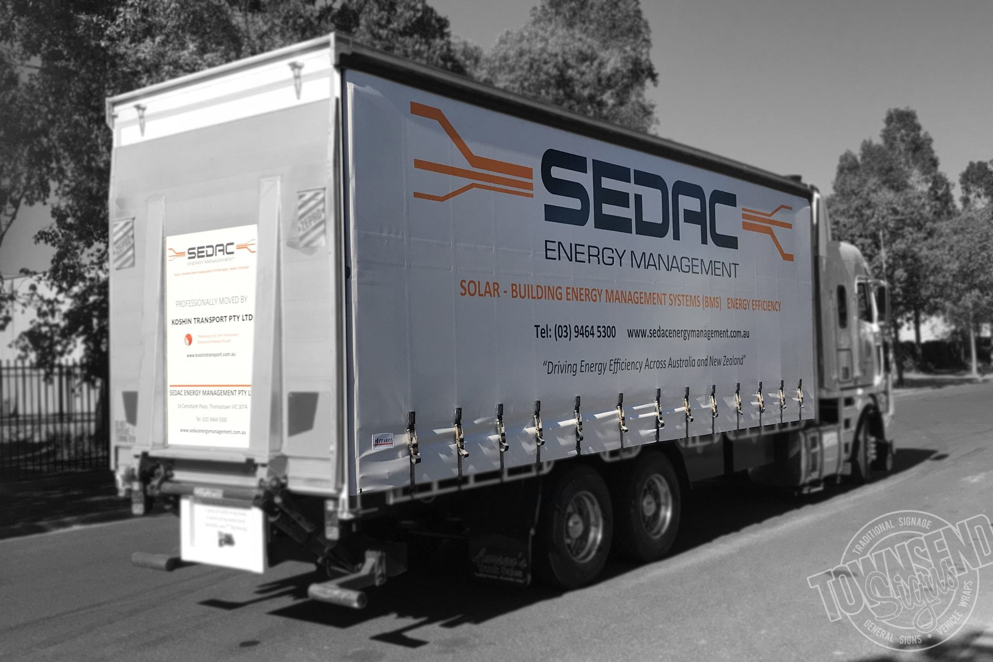 Sedac Truck Curtain Townsend Signs
